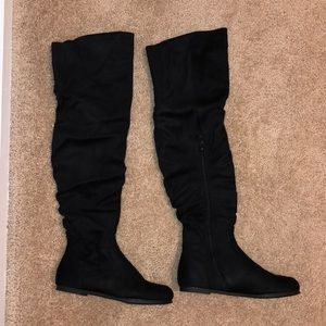 Shoes - NWOT!! Black Suede Knee-High Boots